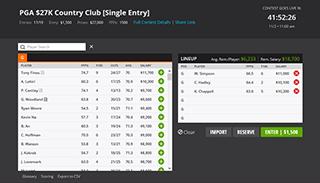 Erstelle dein Golf Lineup / DFS Team