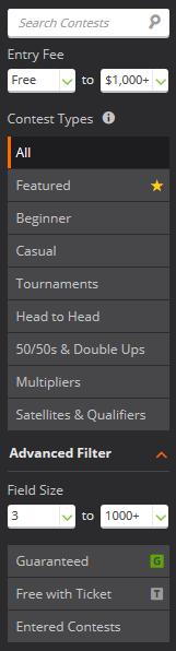 DraftKings Turnier Auswahl