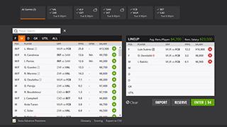 Erstelle dein Lineup / dein DFS Team