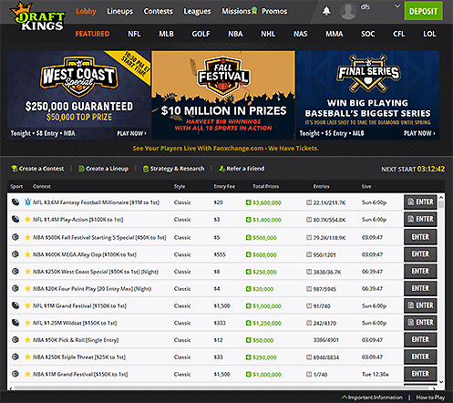 DraftKings Test Lobby